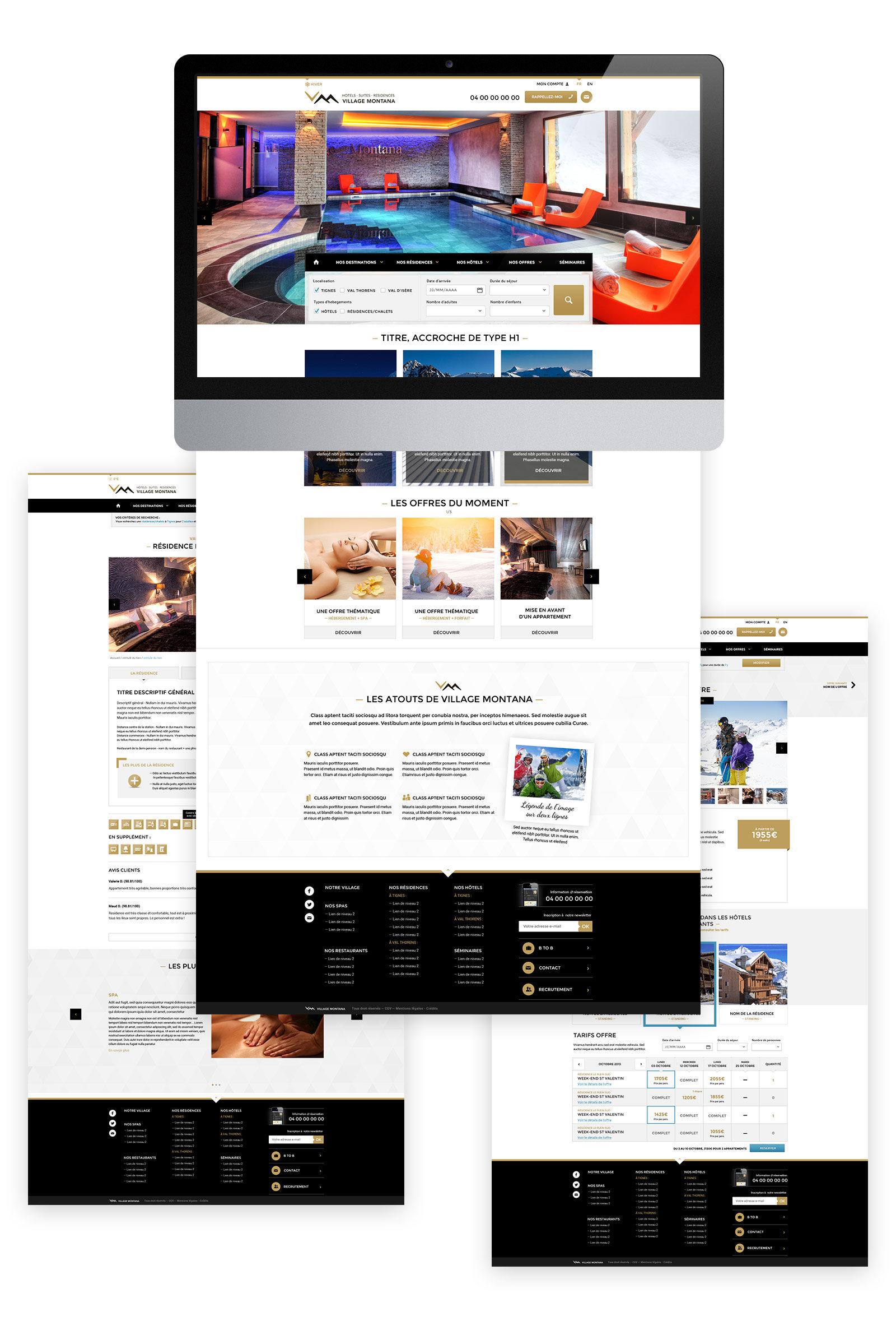 maquette des pages du site