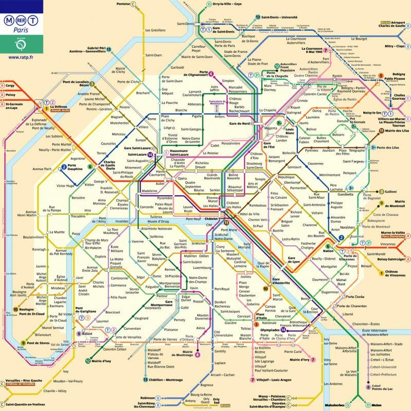 Plan des lignes de métro de Paris